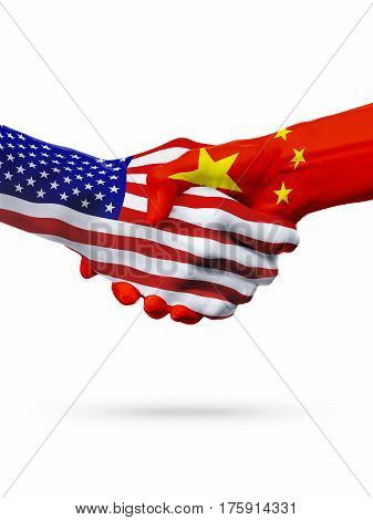 Flags of China and United States countries handshake cooperation partnership and friendship or sports competition isolated on white