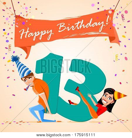 confused boy holding the number 13 on a colorful background. banner Happy Birthday. vector illustration.