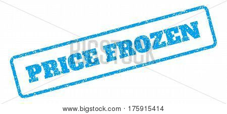 Blue rubber seal stamp with Price Frozen text. Glyph caption inside rounded rectangular banner. Grunge design and unclean texture for watermark labels. Inclined sign on a white background.