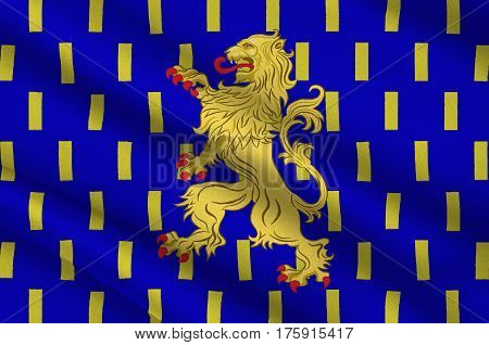 Flag of Nevers is the prefecture of the Nievre department in the Bourgogne-Franche-Comte region in central France. 3D illustration