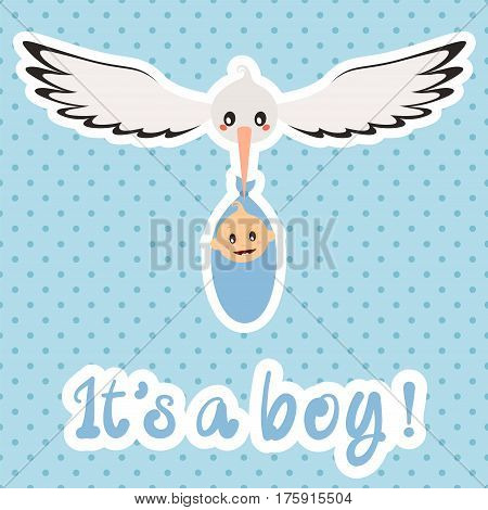 Newborn. It's a boy! Vector card on blue background