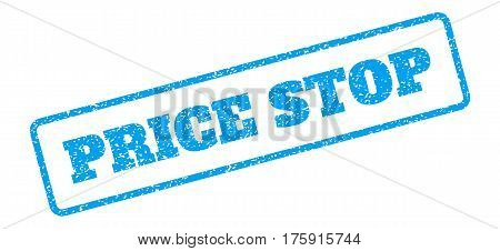 Blue rubber seal stamp with Price Stop text. Glyph tag inside rounded rectangular shape. Grunge design and dirty texture for watermark labels. Inclined blue sticker on a white background.
