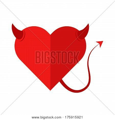 Flat icon devil heart isolated on white background. Vector illustration.