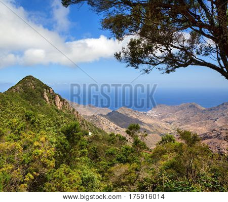 scenic landscape of mountain valley with blue sky (Tenerife, Canary islands, Spain)
