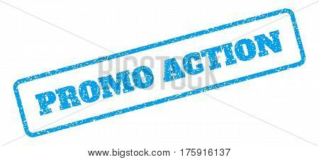 Blue rubber seal stamp with Promo Action text. Glyph caption inside rounded rectangular shape. Grunge design and scratched texture for watermark labels. Inclined blue sticker on a white background.