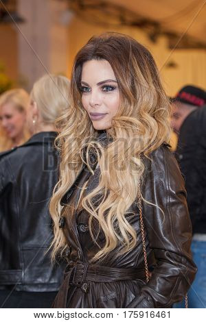 ZAGREB, CROATIA - MARCH 2, 2017: Croatian celebrity and famous TV host Nikolina Pisek posing at the Elfs fashion show