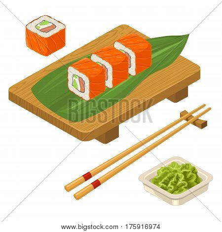 Sushi roll Philadelphia with fish caviar cream cheese avocado chopsticks wasabi in bowl and wood serving board. Isolated on white background. Vector flat color illustration. For icon and menu
