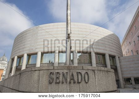 Spanish senate building facade in Madrid Spain