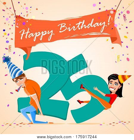 confused boy holding the number 25 on a colorful background. banner Happy Birthday. vector illustration.