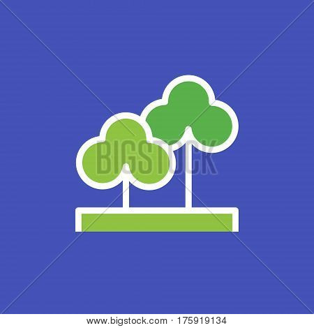 Vector icon or illustration showing paark, trees our otdoors in outline style