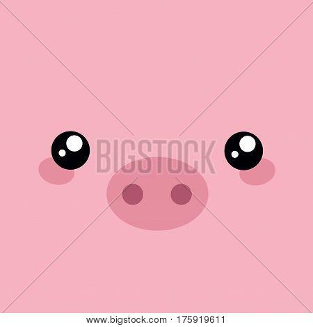 Cute pig. Vector. Flat style. Cartoon animal