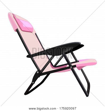 Illustration of a pink folding chair over a white background.