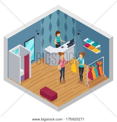 Colored trying shop isometric interior with clothing store layout new renovated stylish vector illustration