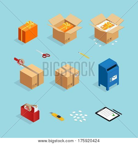 Set of isometric box packing stages icons with gift wrappings sticky tape and carton mail box vector illustration