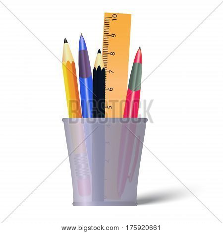 Pen and pencils container. Holder with pencils ruler and pens. Office tools isolated on white background.