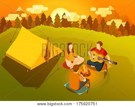 Three young friends singing at sunset around campfire near hiking tent on backcountry trip isometric vector illustration