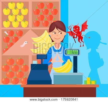 Fraud market trade background with flat greengrocer and devil characters in the market with weighing scales vector illustration