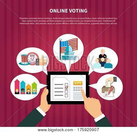 Online voting elections on hands hold tablet with rating, government, flag, ballot box flat vector illustration