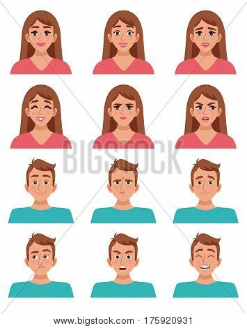 Face expressions male and female characters set with cartoon woman and man images with different facial expressions vector illustration