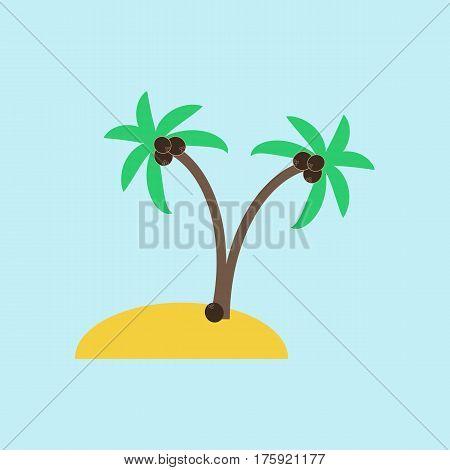 Desert island on the blue background. Palms on the sand. Vector illustration