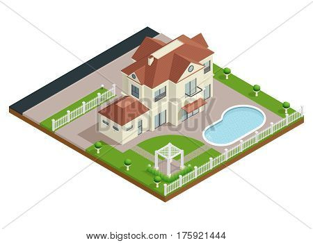 Suburb house isometric composition with swimming pool and lawn vector illustration