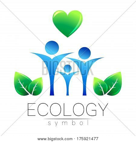 Vector illustration of Ecology symbol. Sign with human family heart and leaf isolated on white background. Green and blue color. Eco icon for card, web, business. Bio nature element