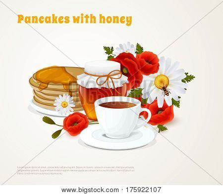 Pancakes with honey colored composition pancakes tea on breakfast and poured honey vector illustration
