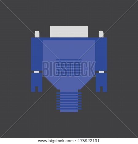 VGA cable on the grey background. Vector illustration