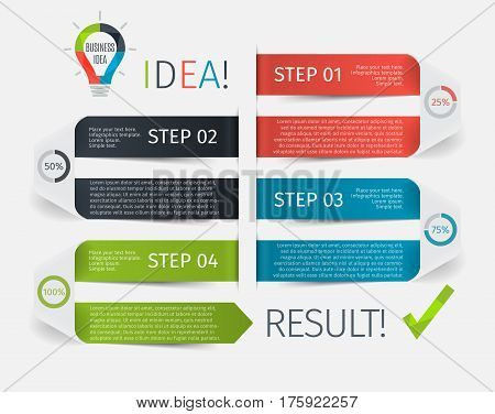 Modern infographic step up ribbon, or timeline with 4 steps, options and percentage of completion. Template for presentation, chart, graph. Vector illustration.