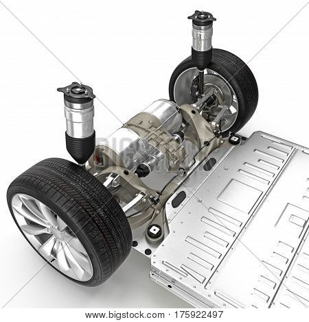 Car chassis with electric engine isolated on white background. 3D illustration