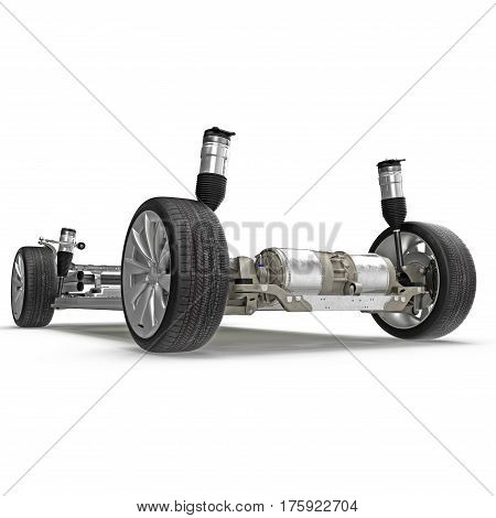Sedan chassis with electric engine with battery isolated on white background. 3D illustration