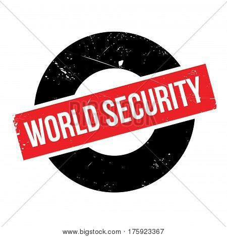 World Security rubber stamp. Grunge design with dust scratches. Effects can be easily removed for a clean, crisp look. Color is easily changed.