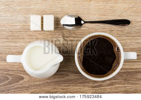 Black Coffee, Jug Of Milk, Lumpy Sugar And Spoon