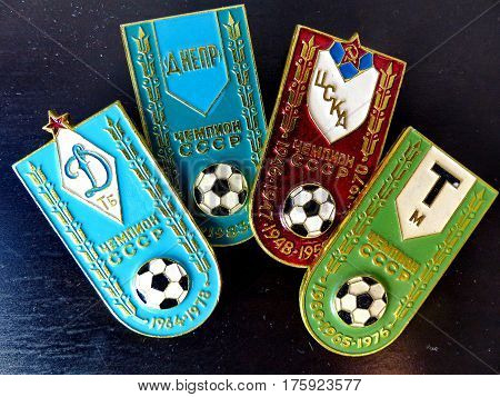 USSR - CIRCA 1980: Badges with the inscription