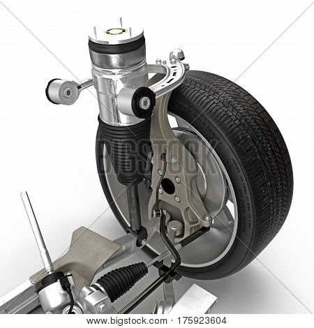 Electric Car Front Axle with new tire isolated on white background. 3D illustration