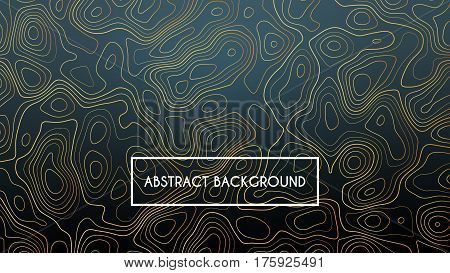 topographic lines luxury background, black and golden horizontal vector template