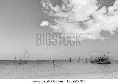 Fishing boat in calm ocean; Koh Pha Ngan; Thailand