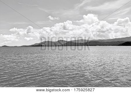 Seascape with mountains in the background; Koh Pha Ngan; Thailand