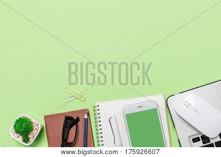 Flat Lay Busines Desk, Grid Notepad, Keyboard, Pencil, Watch, Office Mock Up Concept, View From Abov