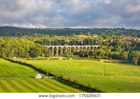 View of Pontcysyllte Aqueduct which carries Llangollen canal high above the River Dee.