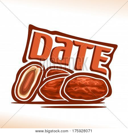 Vector logo Date Fruit: still life of heap dried dates, cut half exotic palm fruit for islamic ramadan fasting, abstract cartoon icon arabic sweet medjool with title text for label, isolated on white.