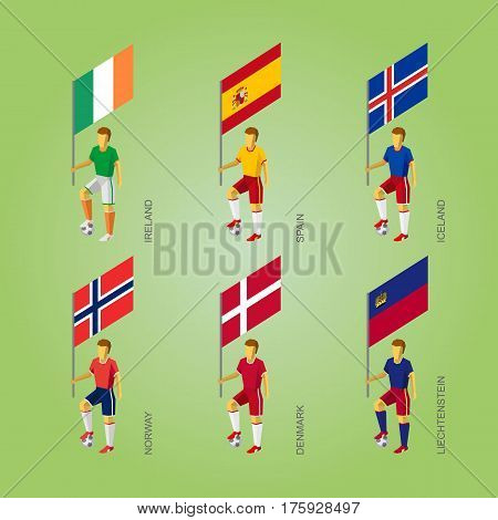 Football Players With Flags: Denmark, Liechtenstein, Spain, Norway, Ireland, Iceland