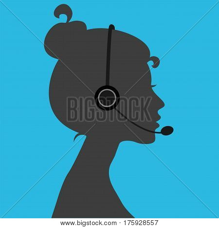 Telephone operator girl. Vector illustration. Flat style