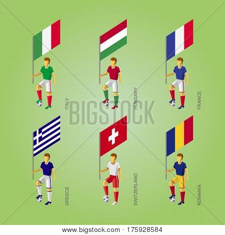 Football Players With Flags: France, Romania, Hungary, Italy, Switzerland, Greece.