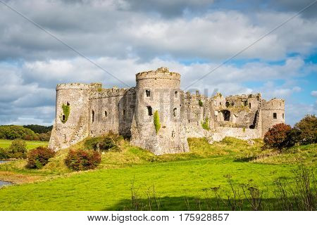 Carew Wales United Kingdom - September 22 2016: Carew Castle at Pembrokeshire Coast National Park in South Wales