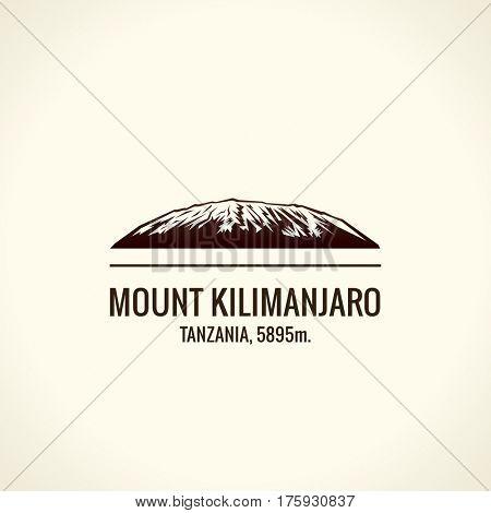 Mountain tourist raster logo. Emblem Mount adventures. Icon mount. Highest mountains in world. Kilimanjaro