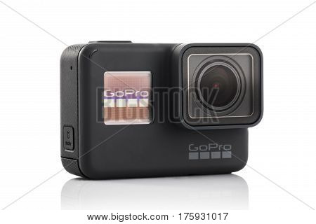 Varna Bulgaria - March 9 2017: GoPro Hero 5 Black isolated on white background.manufactured by GoPro Inc