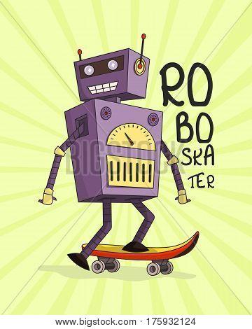 Happy joyful robot skateboarder. Longboard. Vector illustration.
