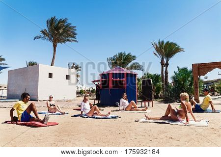 Hurghada Egypt - October 9 2016: Tourists on the animation yoga Hotel Golden 5