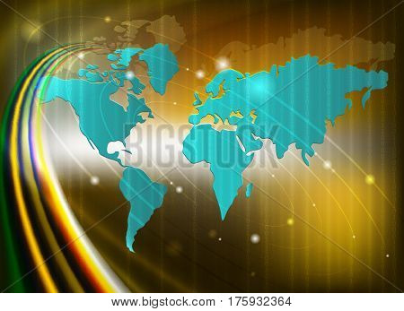 abstract yellow background with silhouettes of the continents, there is a place for text
